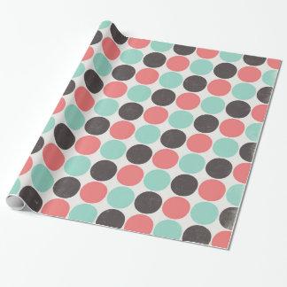 Blaue rosa Vintage Polka-Punkte Browns Geschenkpapier