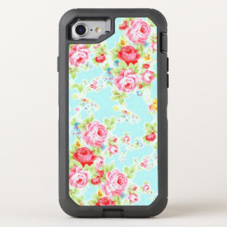 Blaue rosa Vintage Rose OtterBox Defender iPhone 7 Hülle