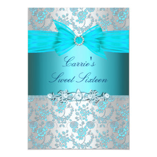 Blaue Rose u. Bogen 16. Geburtstag laden ein Karte