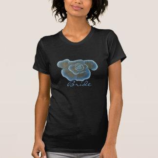 Blaue Rosen-Blumen-Brautt-shirts Shirts