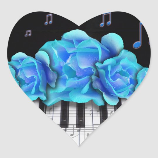 blaue rosen klavier tastatur und musiknoten herz sticker zazzle. Black Bedroom Furniture Sets. Home Design Ideas