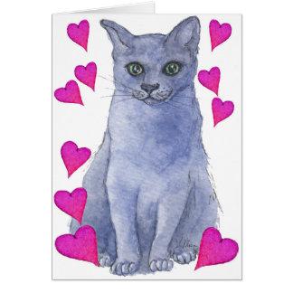 Blaue russische Katzen- u. Liebeherzen Karte