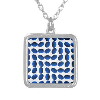 Blaue Saphir-optische Täuschung Versilberte Kette