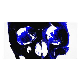 Blaue Schädel-Pop-Kunst-Fantasie Photo Karten Vorlage