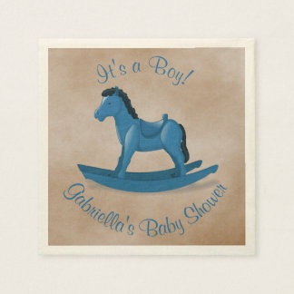 Blaue Schaukelpferd-Babyparty Serviette