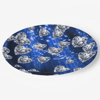 Blaue Schein-Diamant-Herz-Servietten Pappteller