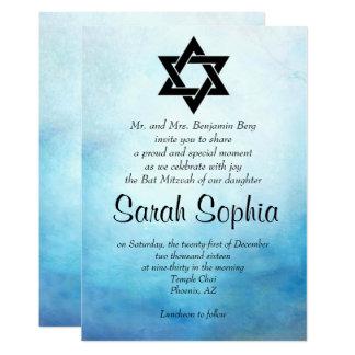 Blaue Schläger Mitzvah Einladung, Watercolor, 12,7 X 17,8 Cm Einladungskarte