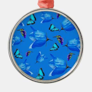 Blaue Schmetterlinge und Bell-Blumen, Silbernes Ornament