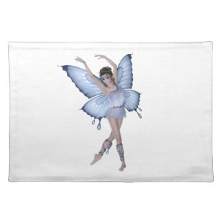 Blaue Schmetterlings-Fee-Prinzessin Stofftischset