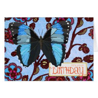 Blaue Schmetterlings-Geburtstags-Karte Karte