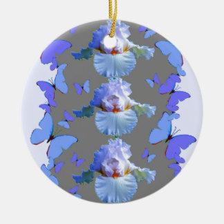 BLAUE SCHMETTERLINGS-PASTELLiris-GRAU-KUNST Keramik Ornament