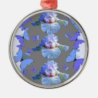 BLAUE SCHMETTERLINGS-PASTELLiris-GRAU-KUNST Silbernes Ornament