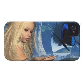 Blaue Schmetterlings-und Wasser-Nymphe - 2 Case-Mate iPhone 4 Hülle