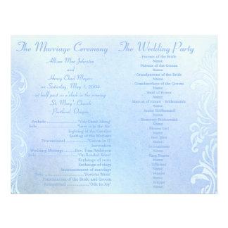 Blaue Schmutz-Hochzeitsprogramme Flyerdruck