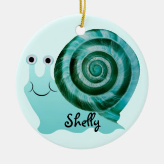 Blaue Schnecke Rundes Keramik Ornament