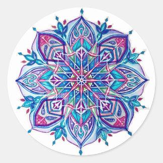 Blaue Schneeflocke-Aufkleber---Blauer Runder Aufkleber