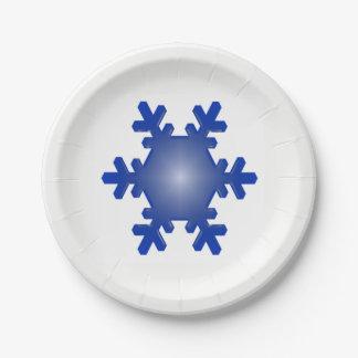 Blaue Schneeflocke-Sternexplosion auf Weiß Pappteller