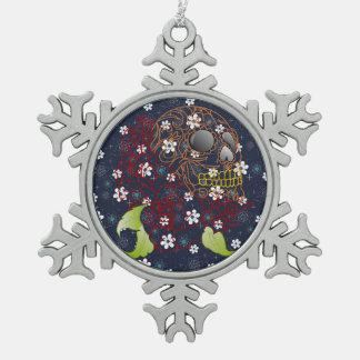 Blaue Schneeflocken Zinn-Ornament