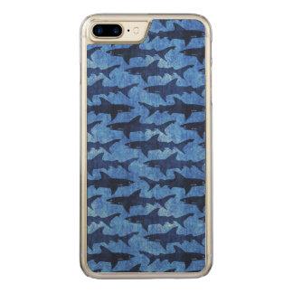Blaue Schule der Haifische Carved iPhone 8 Plus/7 Plus Hülle