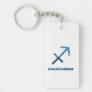Blaue Schütze-Tierkreis-Zeichen auf Weiß Schlüsselanhänger