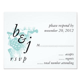 Blaue Schwarz-weiße Winter-Hochzeit UAWG Karte 10,8 X 14 Cm Einladungskarte
