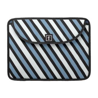 Blaue Schwarzweiss-Streifen MacBook Pro Sleeve