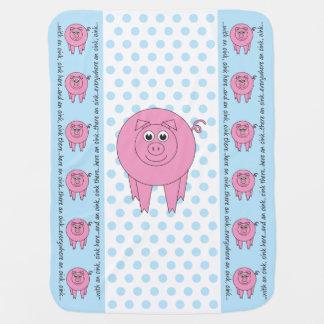 Blaue Schwein-Baby-Decke (einseitig) Kinderwagendecke