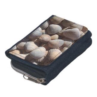 Blaue Seashells Sammlung, Denimgeldbörse, Sommer