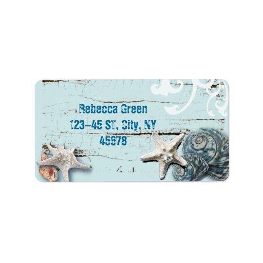 Blaue Seashells Starfish Küstenaqua der scheune Adressaufkleber