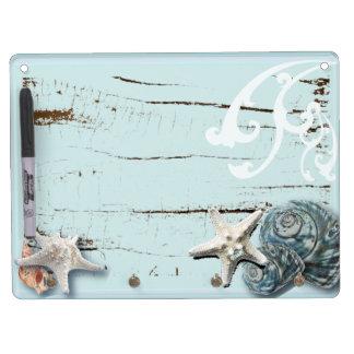 Blaue Seashells Starfish Küstenaqua der scheune Trockenlöschtafel Mit Schlüsselanhängern