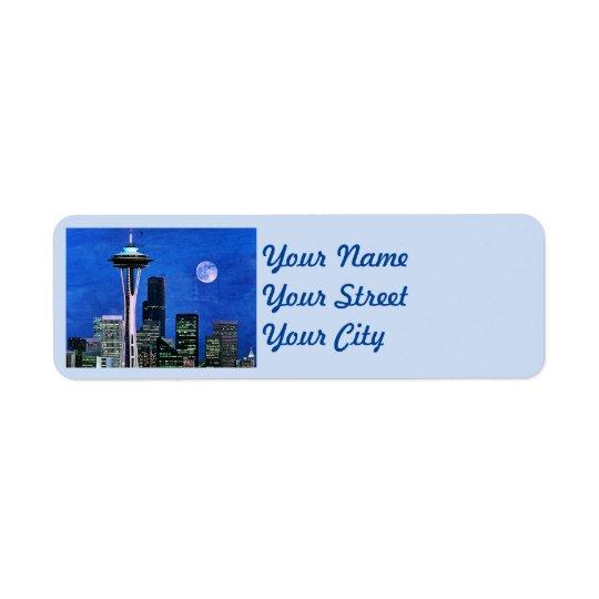 Blaue Seattle-Skyline Rückversand-Adressaufkleber
