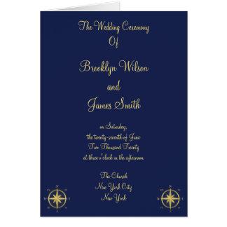 Blaue Seehochzeits-Zeremonie-Programme Karte