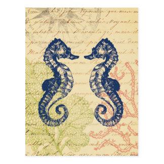 Blaue Seepferdecollage Postkarte
