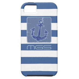 blaue Seeseemannanker-Gewohnheitsinitialen iPhone 5 Schutzhüllen