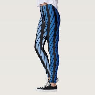 Blaue Seil-Art Stripes Dekor an Leggings