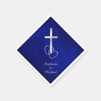Blaue silberne christliche Querhochzeit Papierserviette