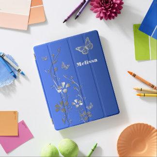 Blaue silberne Schmetterlinge, BlumeniPad 2/3/4 iPad Hülle