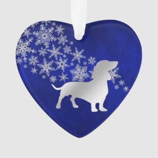 Blaue silberne Schneeflocke-Dackel Ornament