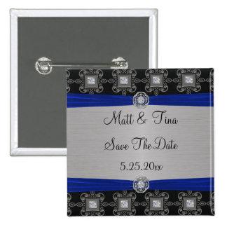 Blaue silberne schwarze verzierte Eleganz Save the Quadratischer Button 5,1 Cm