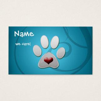 Blaue silberne Tatzen-Herz-Haustier-Visitenkarten Visitenkarte