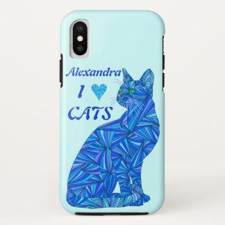 Blaue sitzende Katze ifonx I Herz-Katzen iPhone X Hülle
