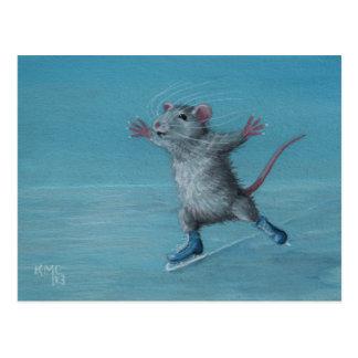 Blaue Skatepostkarte des Ratten-Eis-Skaten Postkarte