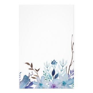 Blaue Sommer-Blumen und Blätter Briefpapier