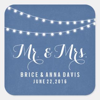 Blaue Sommer-Schnur-Licht-Hochzeits-Aufkleber Quadrat-Aufkleber