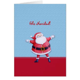 Blaue spanische Weihnachtskarte Weihnachtsmanns Karte