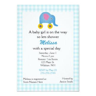 Blaue Spielzeug-Elefant-Babyparty-Einladung