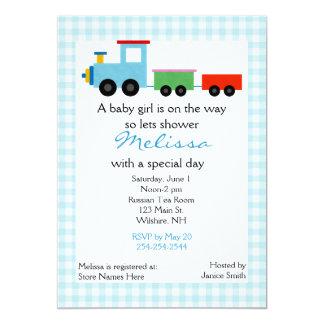 Blaue Spielzeug-Zug-Babyparty-Einladung