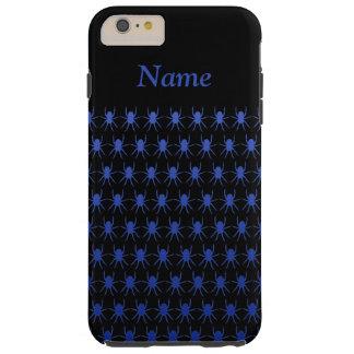Blaue Spinnen auf schwarzem personalisiertem 6/6s Tough iPhone 6 Plus Hülle
