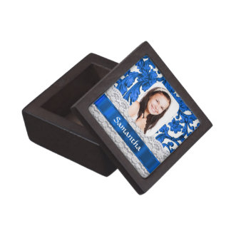 Blaue Spitze-Fotoschablone Schmuckkiste