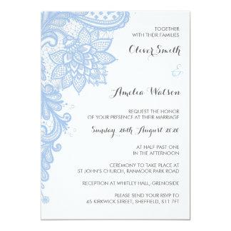 Blaue Spitze-Hochzeits-Einladung Karte